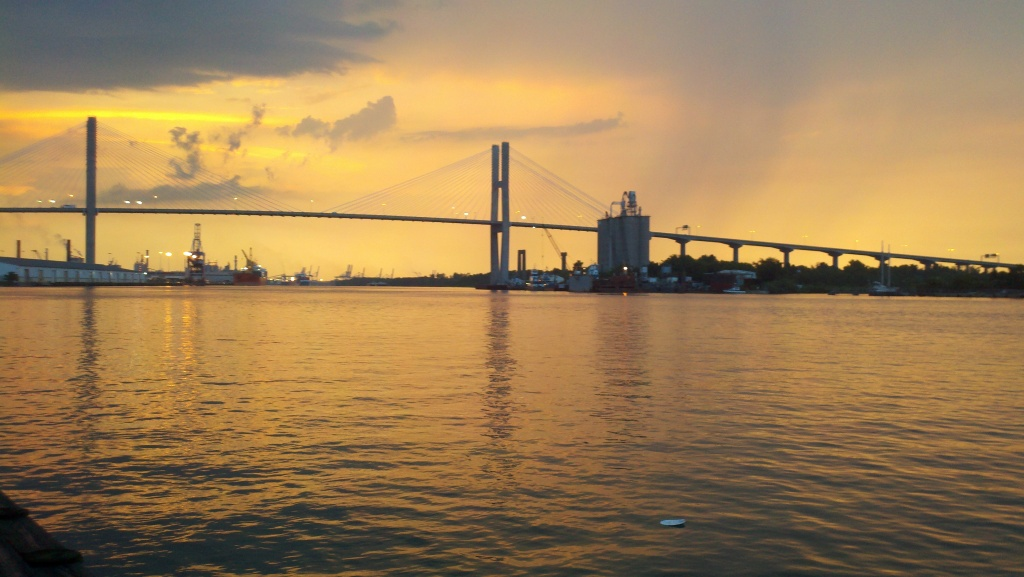 So Long, Savannah (Post on exploring Savannah before the move. Photo by author of sunset on the Savannah River)