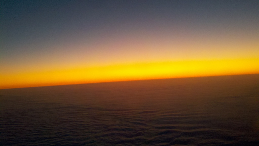 Sunrise from the plane on the way to Germany