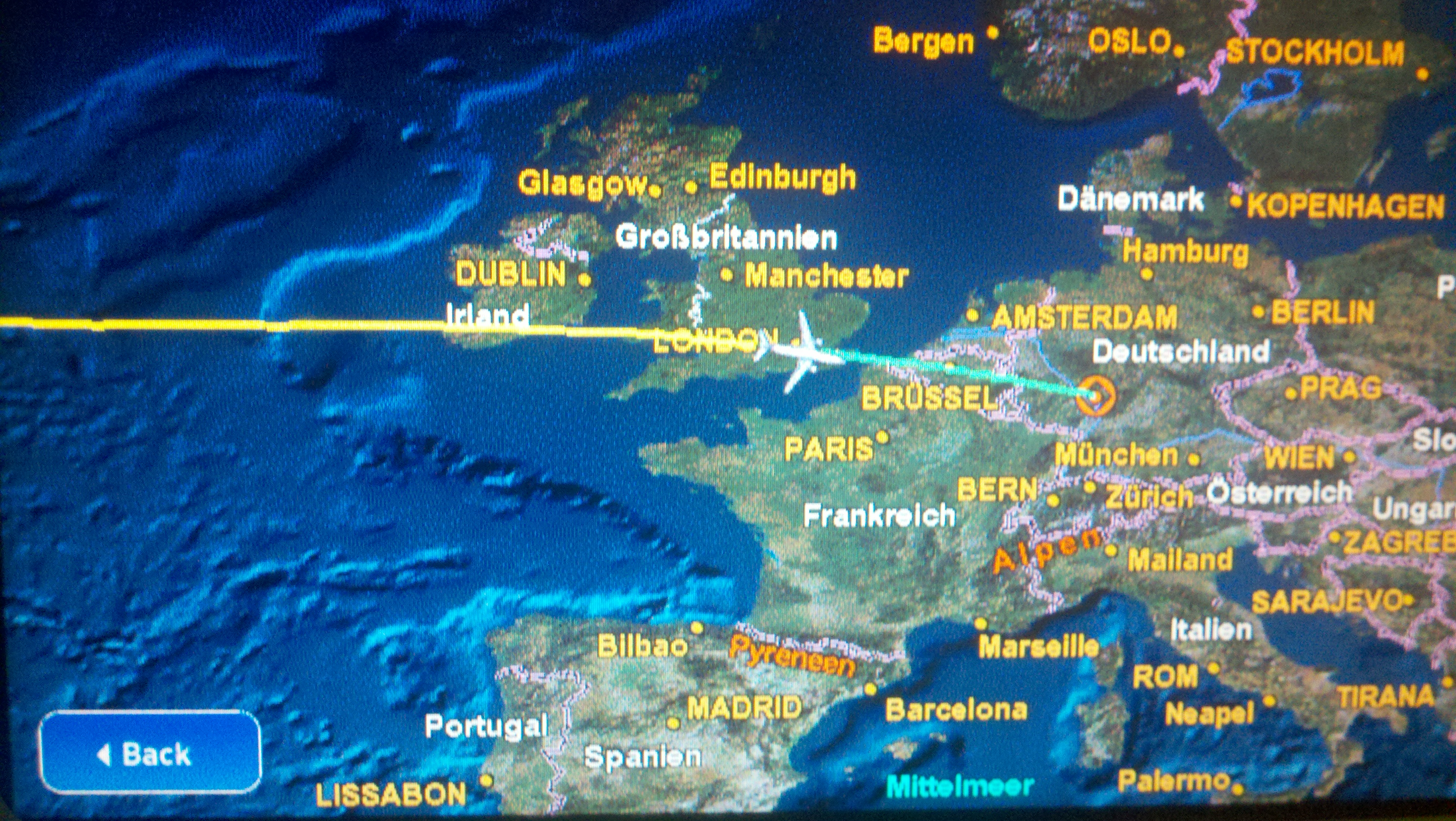 the map on the back of the seat as we passed London