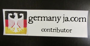 The bumper sticker I received for contributing to Germany Ja